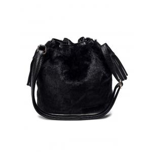 Furry Pompon Tassel Bucket Bag -