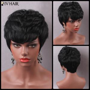 Stylish Short Inclined Bang Human Hair Wig For Women - JET BLACK