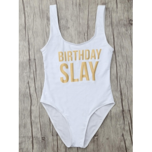 Letter Unlined One Piece Swimsuit - WHITE XL