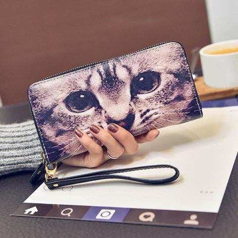 Store Zip Around Kitten Print Wristlet Wallet