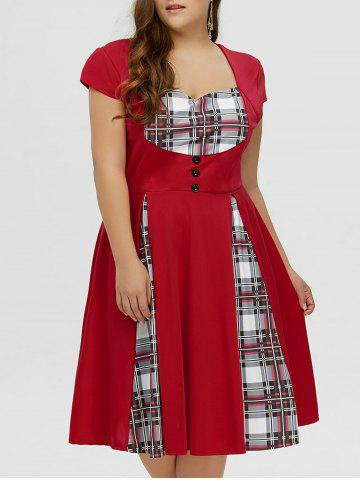Store Plus Size Checked Midi Pin Up Dress With Sleeve RED 5XL