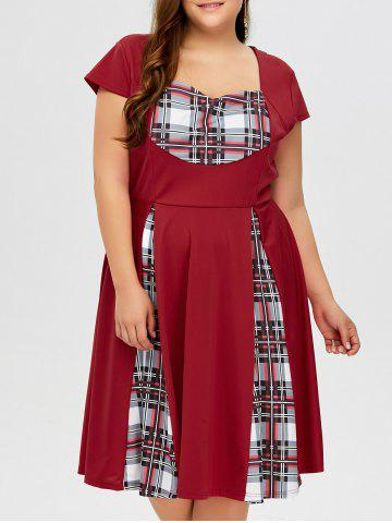 Chic Plus Size Sweetheart Neck Checked Pin Up Dress WINE RED 5XL