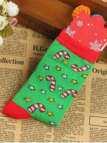 Store Pair of Knitted Christmas Jacquard Color Block Socks