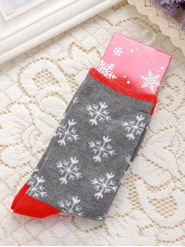 Hot Pair of Knitted Snowflakes Jacquard Christmas Socks