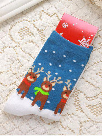 Outfits Pair of Knitted Deer Jacquard Color Block Christmas Socks BLUE