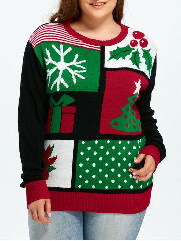 Christmas Tree Snowflake Pattern Cute Plus Size Sweater - Colormix - 2xl