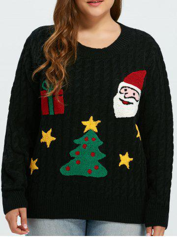 Buy Flocked Tree and Gift Pattern Christmas Sweater BLACK ONE SIZE
