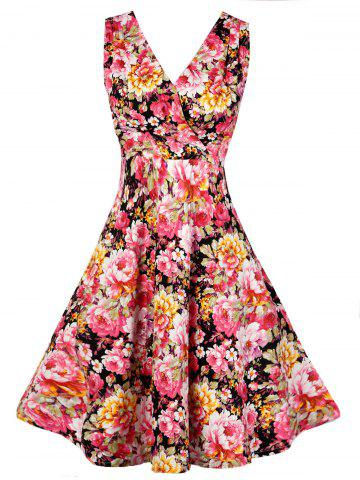 Fancy V Neck Floral Pattern Vintage Dress - S FLORAL Mobile