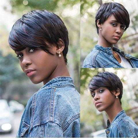 Sale Fashion Short Pixie Cut Straight Capless Mixed Color Synthetic Wig For Women