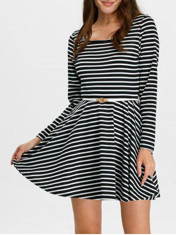 Cheap Stripe Fit and Flare Mini Skater Dress with Long Sleeve