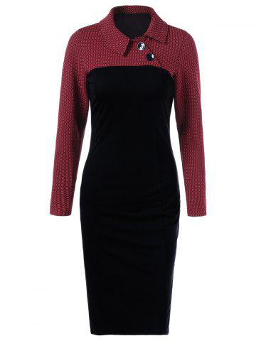 Latest Side Collar Long Sleeve Sheath Dress RED WITH BLACK M