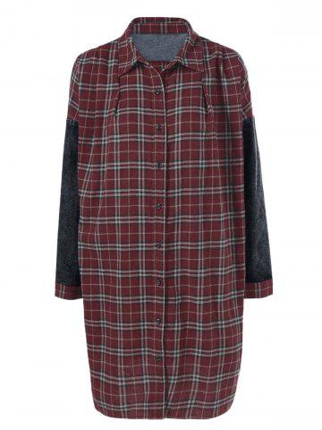 Chic Denim Trim Plaid Shift Dress