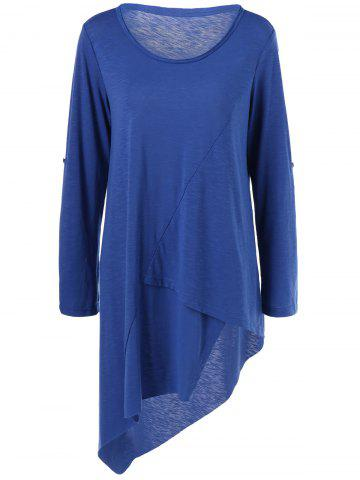 Fashion Plus Size Adjustable Sleeve Asymmetrical T-Shirt