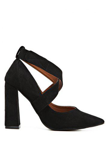 Outfits Pointed Toe Cross Straps Chunky Heel Pumps