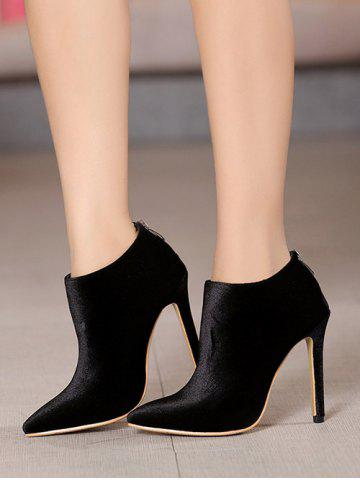 Latest Zip Stiletto Heel Pointed Toe Ankle Boots - 39 BLACK Mobile