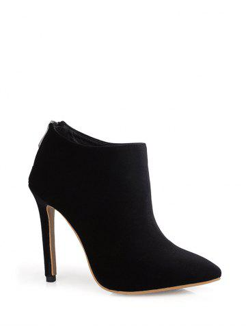 Chic Zip Stiletto Heel Pointed Toe Ankle Boots - 39 BLACK Mobile