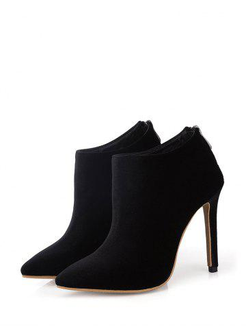 Shop Zip Stiletto Heel Pointed Toe Ankle Boots - 39 BLACK Mobile