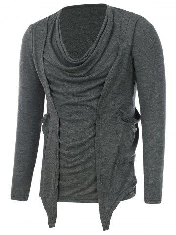 Draped Neckline Pocket Faux Twinset T-Shirt - Deep Gray - M