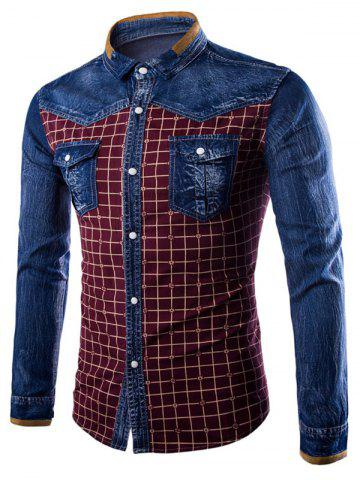 Cheap Long Sleeve Pocket Grid Denim Insert Shirt BURGUNDY 3XL