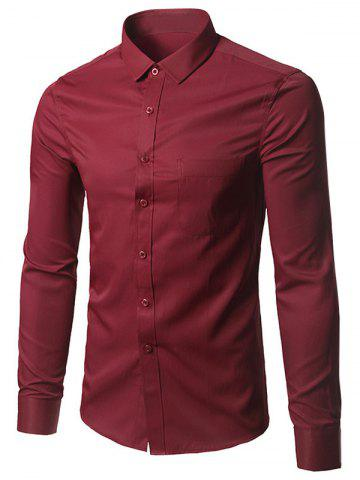 Discount Long Sleeve Button Up Plain Shirt BURGUNDY 5XL