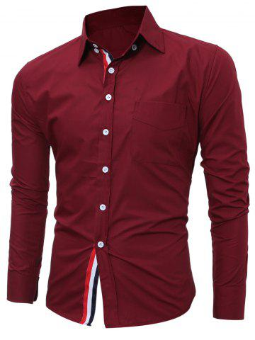 Store Striped Long Sleeves Button Down Shirt BURGUNDY 3XL