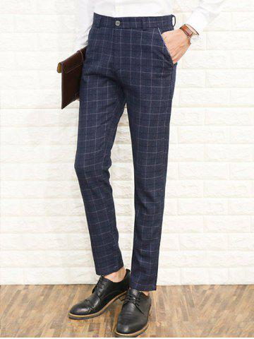Discount Zipper Fly Straight Leg Plaid Dress Pants