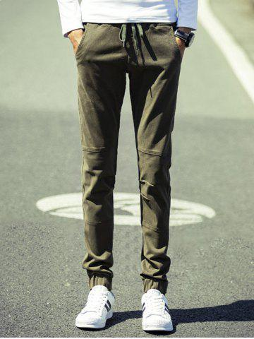 Online Lace Up Beam Feet Splicing Design Jogger Pants ARMY GREEN 38