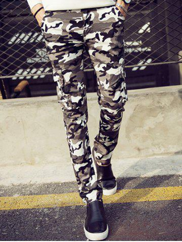 Affordable Camouflage Pattern Narrow Feet Cargo Pants CAMOUFLAGE COLOR 36
