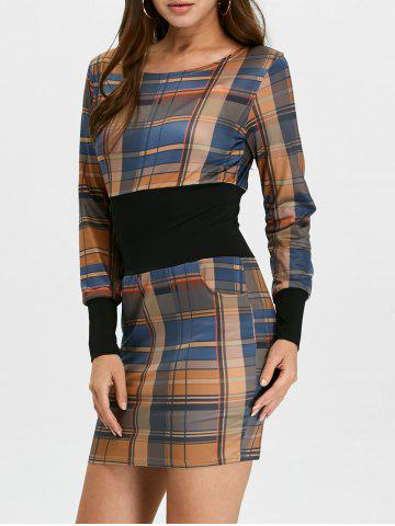 Chic Plaid Long Sleeve Mini Bodycon Dress BROWN S