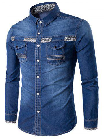 Hot Totem Print Pockets Long Sleeve Denim Fitted Shirt