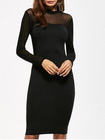 Store Mock Neck See Through Knee Length Bodycon Dress BLACK XL