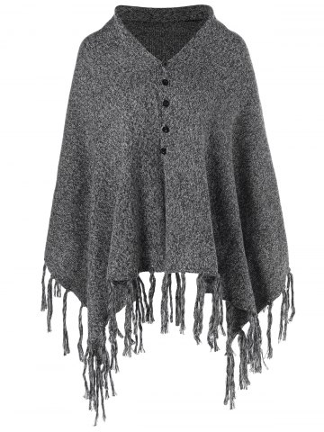 Store Tassles Poncho Cardigan GRAY ONE SIZE