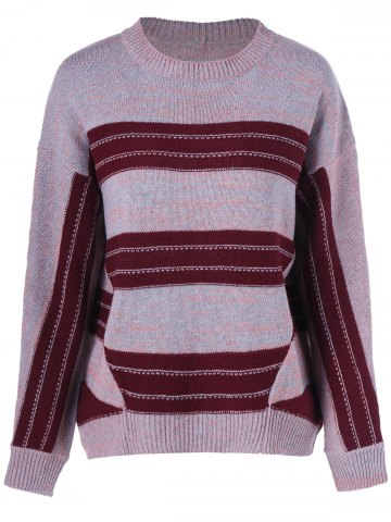 Buy Space Dyed Crew Neck Color Block Knitwear
