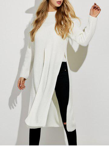 Buy Ripped High Slit Pullover Sweater WHITE XL