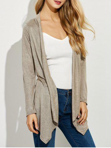 Hot Asymmetrical Open Front Cardigan APRICOT XL