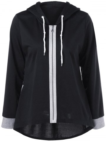 Zipper Up High Hem Hoodie Low Noir et Gris XL