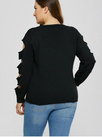 Outfit Cut Out Plus Size Crew Neck Sweater - 5XL BLACK Mobile