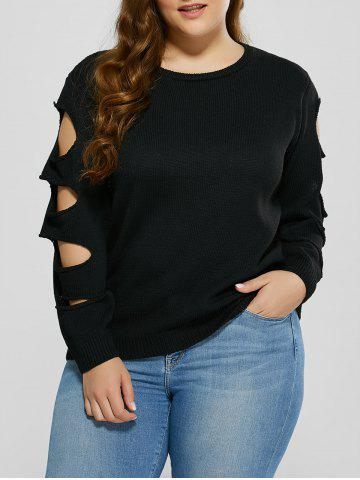 Unique Cut Out Plus Size Crew Neck Sweater BLACK 5XL