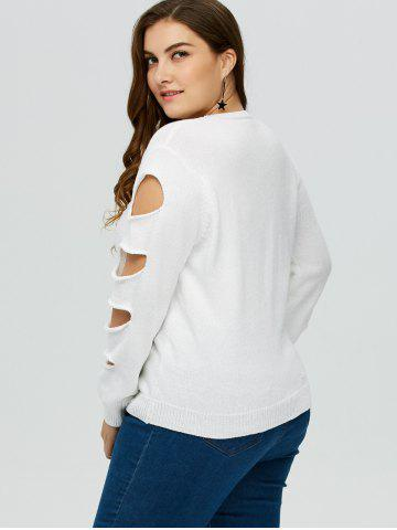 Fashion Cut Out Plus Size Crew Neck Sweater - 5XL WHITE Mobile
