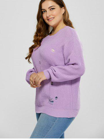 Shop Plus Size Ripped Crew Neck Ribbed Sweater - 5XL PURPLE Mobile