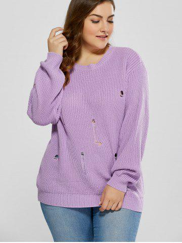 Store Plus Size Ripped Crew Neck Ribbed Sweater - 5XL PURPLE Mobile