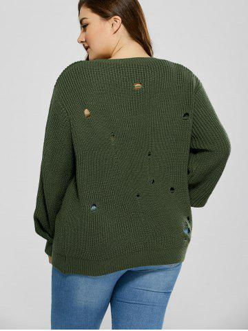 Fancy Plus Size Ripped Crew Neck Ribbed Sweater - 5XL BLACKISH GREEN Mobile
