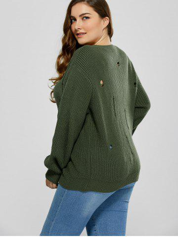 Affordable Plus Size Ripped Crew Neck Ribbed Sweater - 5XL BLACKISH GREEN Mobile