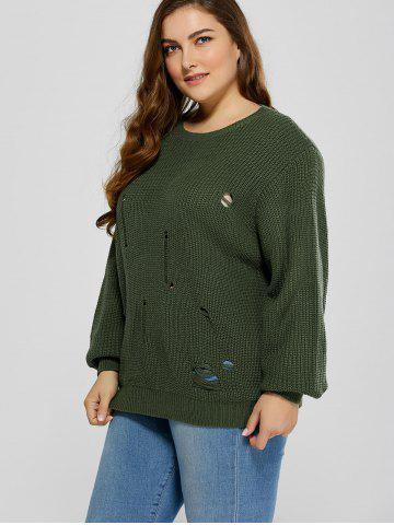 Latest Plus Size Ripped Crew Neck Ribbed Sweater - 5XL BLACKISH GREEN Mobile