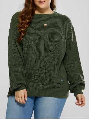 Plus Size Ripped Crew Neck Ribbed Sweater - Blackish Green - 2xl