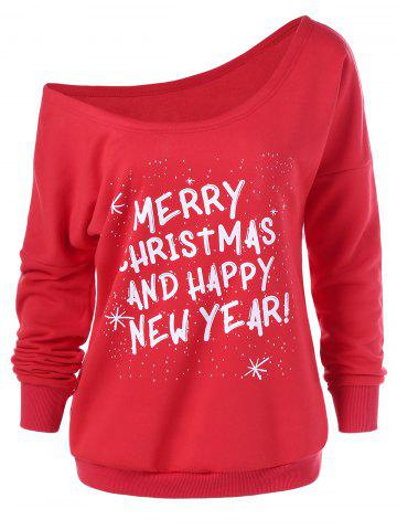 New Merry Christmas And Happy New Year Sweatshirt RED M