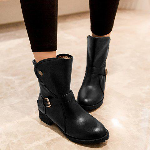 Hot Low Heel Buckle Strap Mid Calf Boots