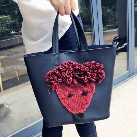 Shop PU Leather Knit Panel Tote Bag