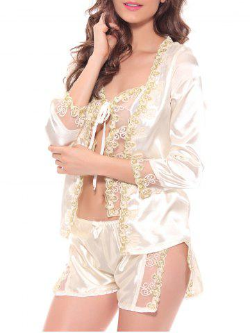 Affordable Embroidered Sheer Cami Top and Shorts and Robe