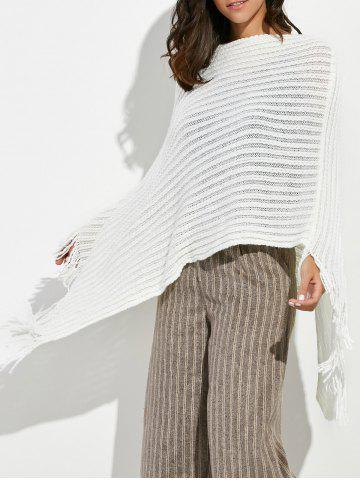 Online Asymmetrical Fringed Crochet Poncho Sweater